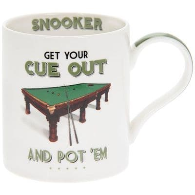 White Mug with a Snooker Table Design