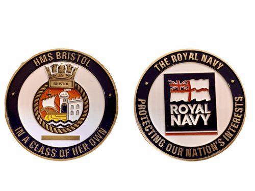 ***SOLD OUT***HMS Bristol Decommissioning Challenge Coin with engraving