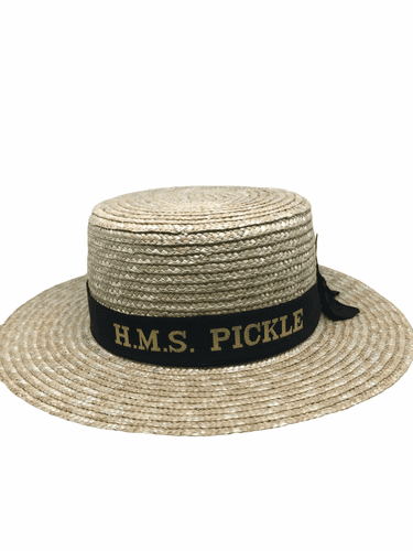 """Pickle Night straw boater with """"HMS PICKLE"""" cap tally"""