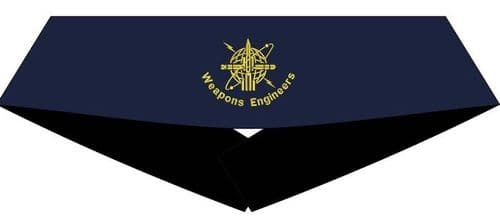 "Weapons Engineer Cummerbund (Blue with Gold WE Badge) - ""WEAPONS ENGINEER"" Sizes 30"" to 50"""
