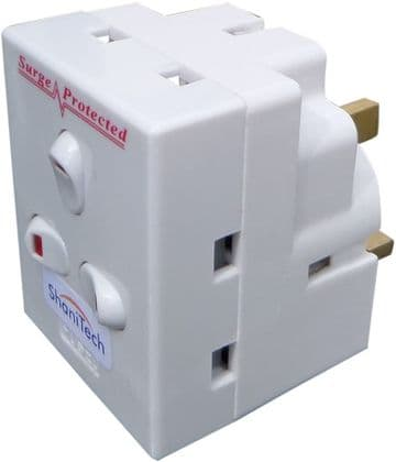 3 way switched surge protected 13A adaptor 3 gang UK mains plug-in adapter with NEON switches