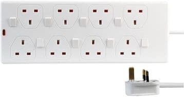 8 Way Gang 0.5 to 2 Metre 13A Mains Individually Switched Power Extension Lead Socket