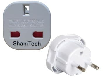 ShaniTech Pack Of 2 UK To Europe Euro Travel Adaptor Suitable For France, Germany, Spain, Egypt