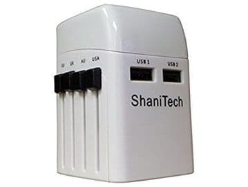 ShaniTech Worldwide Travel Adaptor with Dual USB Charging Ports Safety Fused White