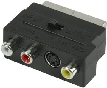 Switchable SCART Male to 3x RCA Female AV Adapter