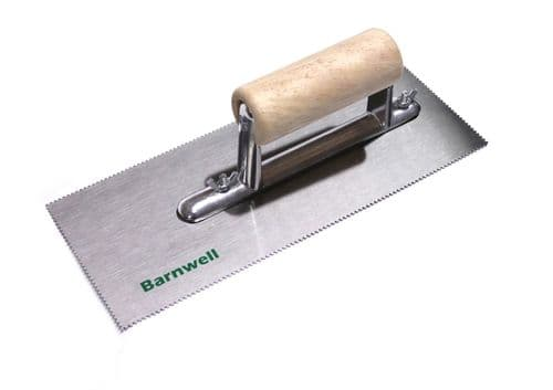 Barnwell Adhesive Trowel - 1.0mm Notched Blade with Wooden Handle