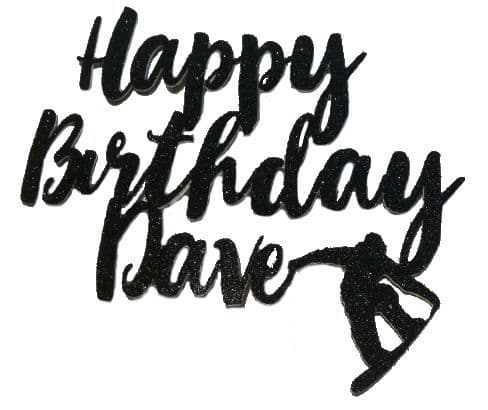 Birthday Snowboarder Glitter card topper