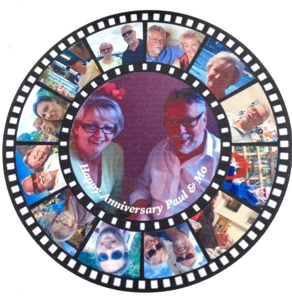 Round film strip cake topper