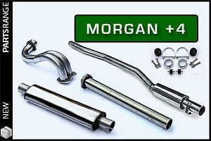 Morgan Plus 4 Full Stainless Steel sports exhaust system - silenced with decat pipe