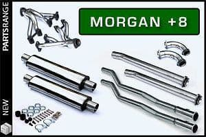 Morgan Plus 8 full Stainless Steel Exhaust System with De-CAT Sports Pipe - non silenced