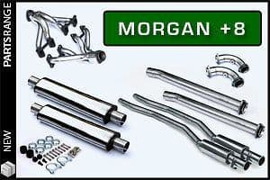 Morgan Plus 8 Stainless Steel Exhaust System - decat and silenced tail pipes