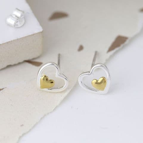 2 TONE STERLING SILVER /GOLD HEART STUD EARRINGS