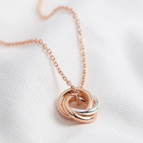 3 RINGS NECKLACE ROSE GOLD & SILVER