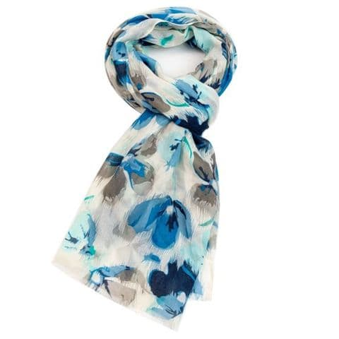 ABSTRACT FLORAL SCARF BLUE