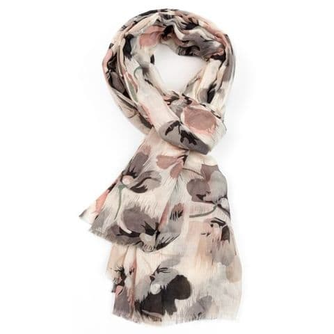 ABSTRACT FLORAL SCARF GREY/PINK