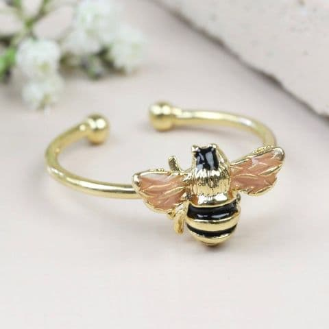ADJUSTABLE BEE RING GOLD