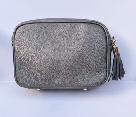 AMY GUNMETAL SINGLE ZIP CROSSBODY