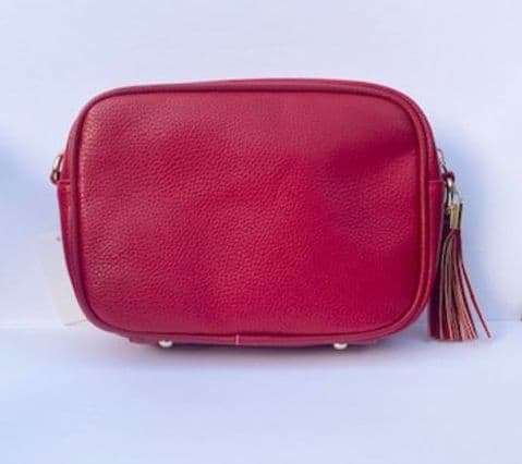 AMY RED SINGLE ZIP CROSSBODY