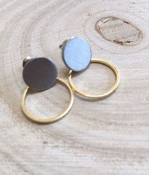 ANOUK HOOP SILVER AND GOLD STUD EARRING