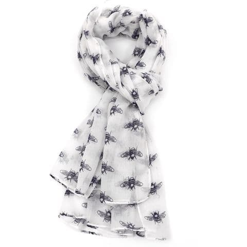 BEES  SCARF WHITE /NAVY