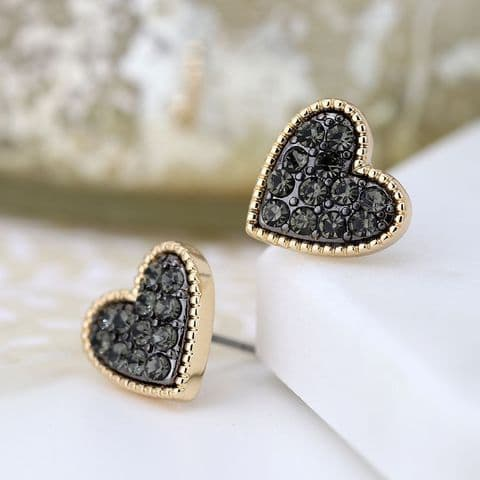 BLACK CRYSTAL HEART STUDS
