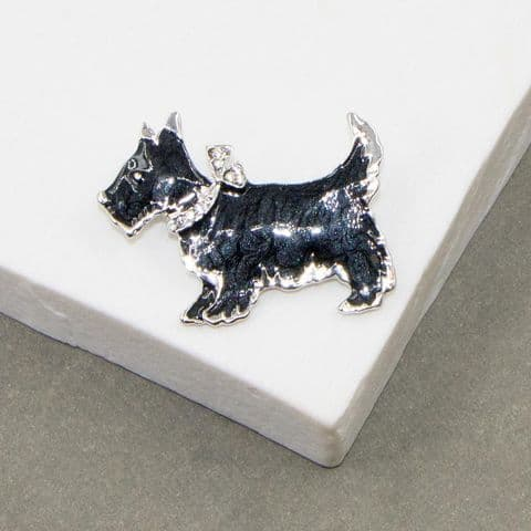 BLACK ENAMEL SCOTTY DOG BROOCH