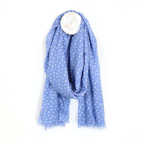 BLUE AND WHITE STAR PRINT COTTON SCARF