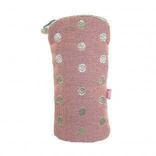 BLUSH EMBROIDERED DOTS GLASSES CASE
