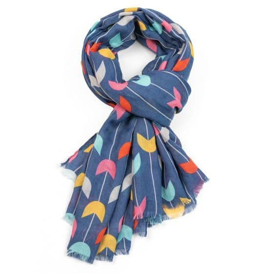 COLOURFUL TULIPS SCARF BLUE