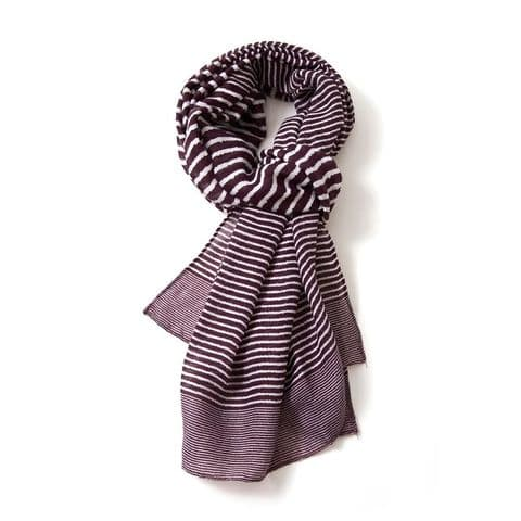 CROSS STRIPES MULBERRY SCARF