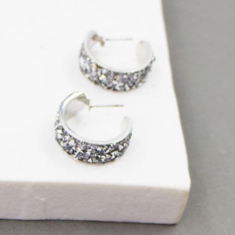 CRYSTAL ENCRUSTED HOOP EARRINGS SILVER