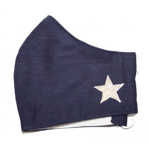 CURVED FACE MASK STAR NAVY