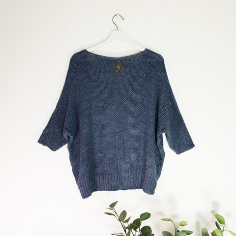 DENIM BLUE KNIT STAR JUMPER