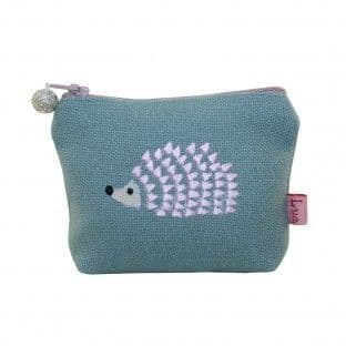 EMBROIDERED HEDGHOG MINI PURSE GREEN