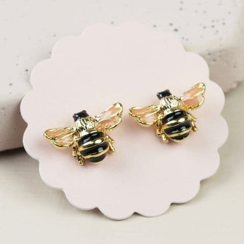 GOLD BUMBLE BEE STUD EARRINGS
