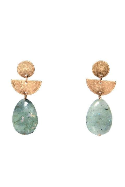 GOLD GREEN DROP EARRINGS