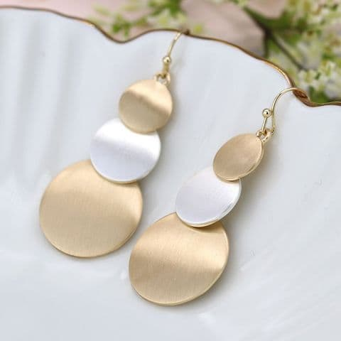 GOLD & SILVER 3 DISC DROP EARRINGS