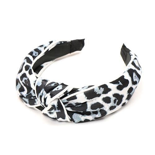 GREY LEOPARD PRINT HEADBAND