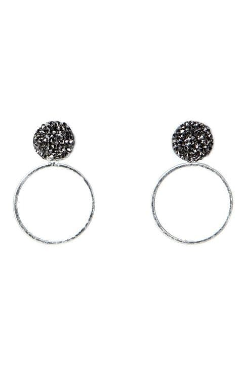 GREY SPARKLE HOOP EARRINGS