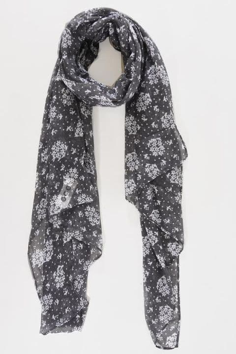 GREY & WHITE MICRO FLORAL CLUSTER SCARF