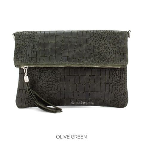 HARPER FOLDOVER CROC PRINT LEATHER BAG GREEN