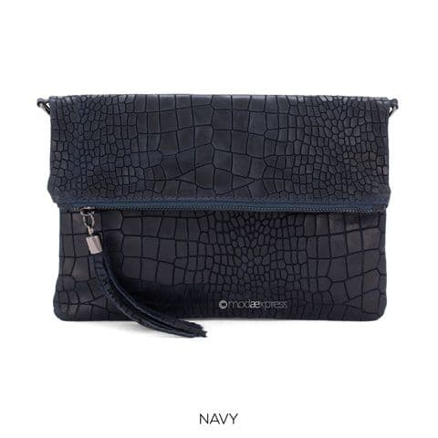 HARPER FOLDOVER CROC PRINT LEATHER BAG NAVY