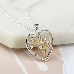 HEART & DANDELION NECKLACE SILVER