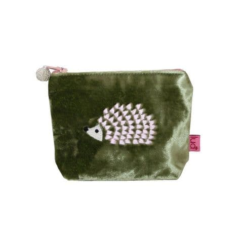 HEDGEHOG EMBROIDERED VELVET PURSE OLIVE