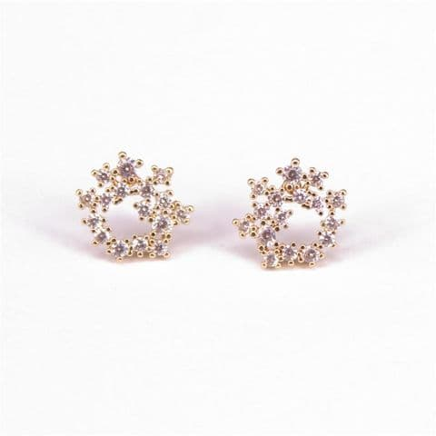 IRREGULAR CLUSTER CIRCLE EARRINGS WITH CUBIC ZIRCONIAS