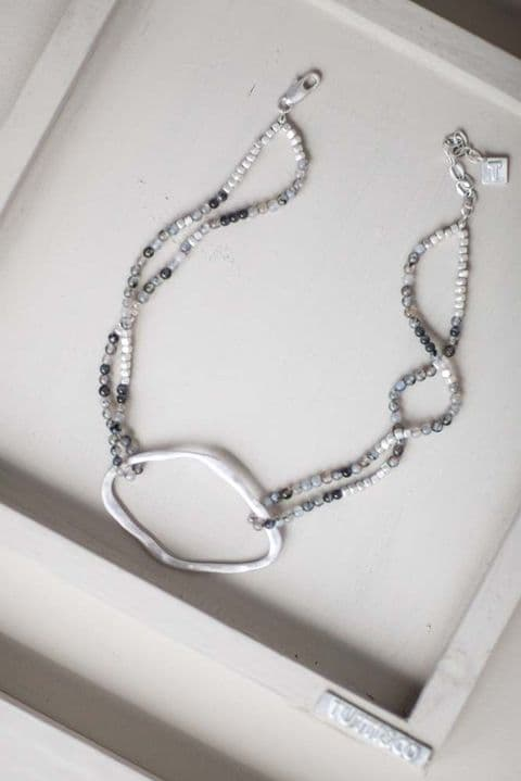 ISABELLA DISC AND STONE NECKLACE
