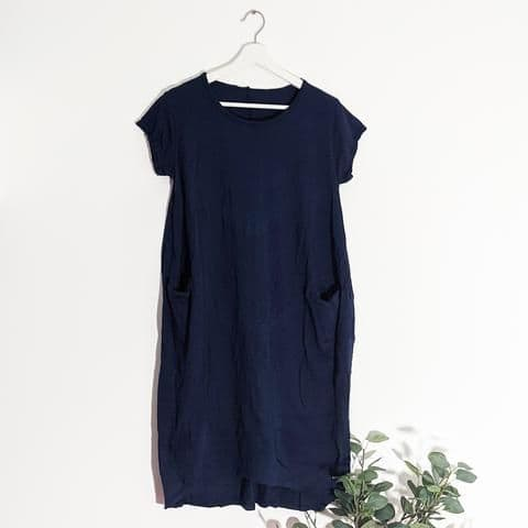 JERSEY DRESS WITH POCKETS NAVY