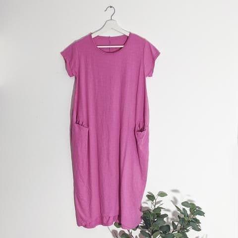 JERSEY DRESS WITH POCKETS PINK