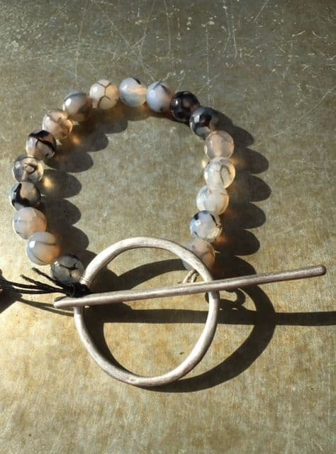 KEIRA CRACKED GREY AGATE T BAR BRACELET