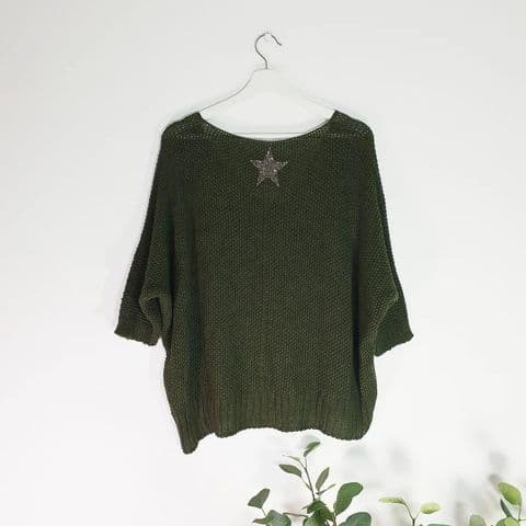 KHAKI KNIT STAR JUMPER
